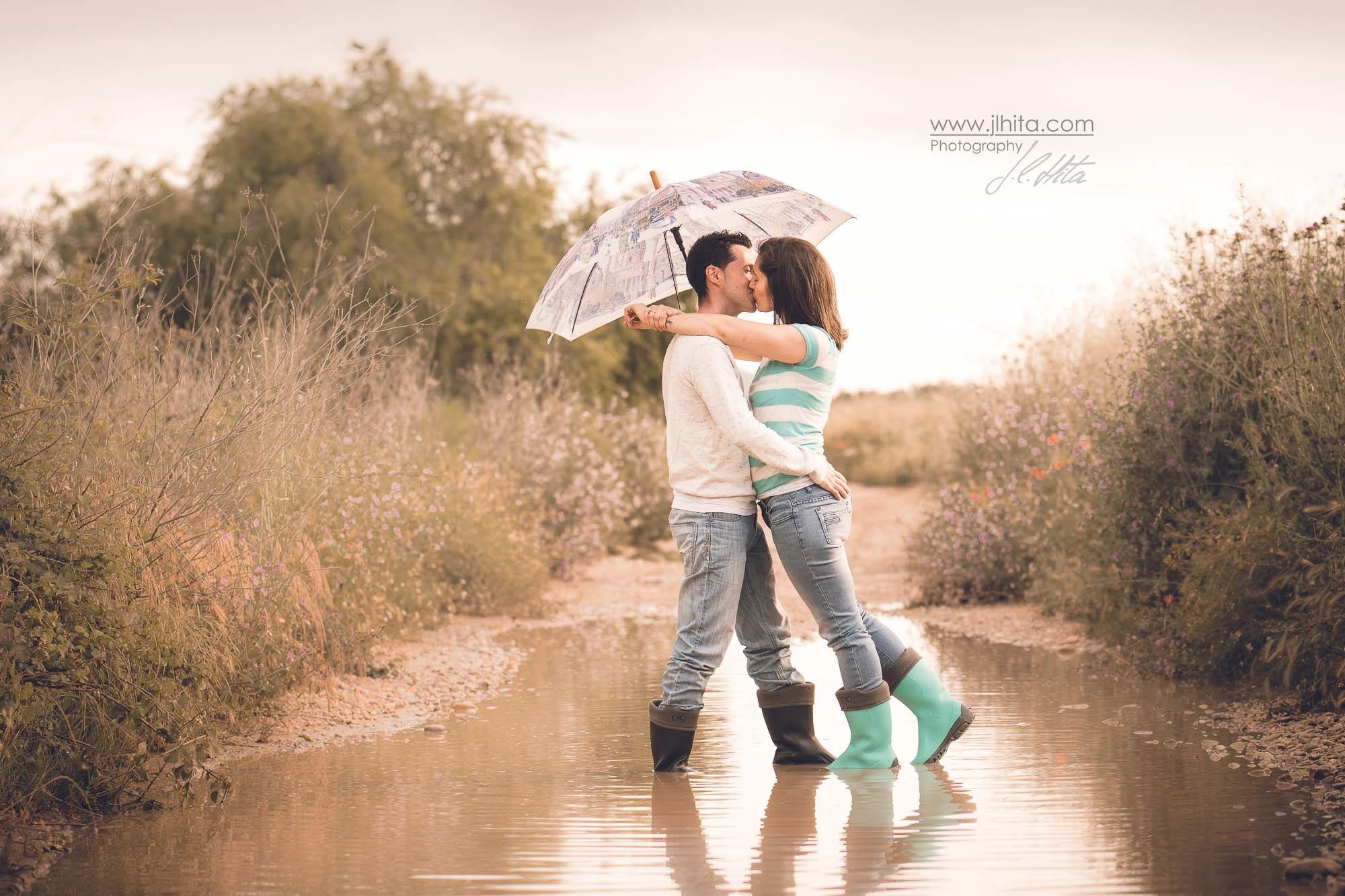 Preboda con lluvia